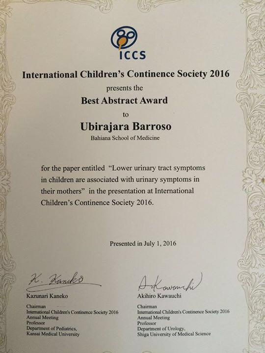 Certificado recebido pelo Dr. Ubirajara Barroso Jr. como melhor trabalho apresentado no congresso da International Children's Continence Society